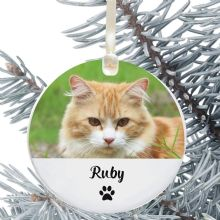 Personalised Cat Photo Ceramic Keepsake Christmas Tree Decoration - Ideal for any Pet Lover